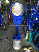 氣動暗杆刀型閘閥DN200帶蓋鑄鋼刀閘閥氣薄型閘閥渣漿閥氣動排汙閥