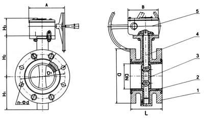 D341J蝸輪襯膠法蘭蝶閥