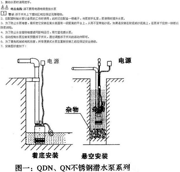 潜水泵起动水泵,让它转动几秒,检査它的启动,运行及转动方向(对三相泵